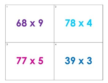 Multiplication Scoot 2 Digit by 1 Digit