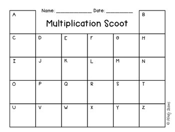 Multiplication Scoot Factors Up to 10