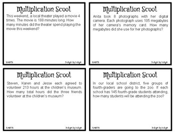 Multiplication Scoot (3-digit by 1-digit) - 4.NBT.5 - Game - Small Group