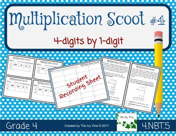 Multiplication Scoot (4-digit by 1-digit) - 4.NBT.5 - Game - Small Group