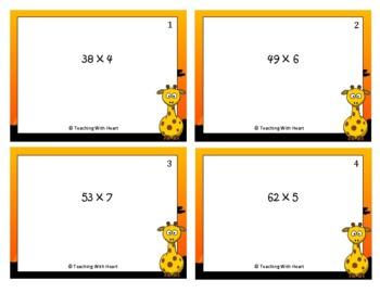 Multiplication Scoot Activity/Task Cards (2 digit x 1 digit)