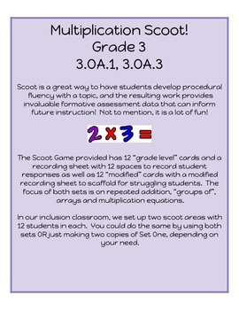 Multiplication Scoot!  Aligned to Grade 3 CCSS - 3.OA.1, 3.OA.3