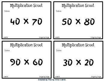 Multiplication Scoot Games BUNDLE - Small Group Games (4.NBT.5)