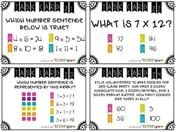 Multiplication Task Cards + Scoot Game