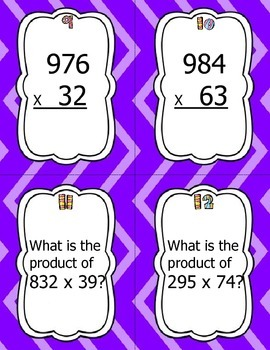 Multiplication Scoot/Task Cards - 3 digit by 2 digit