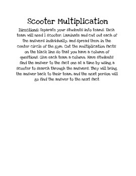 Multiplication Scooter Game