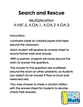 Multiplication Search and Rescue - High Level