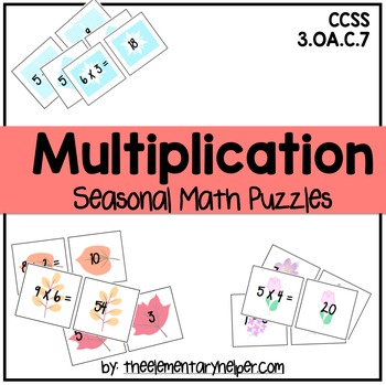Multiplication Seasonal Math Puzzles