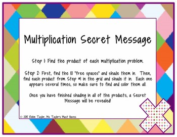 Multiplication Secret Message