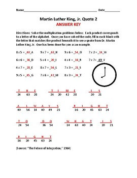 Multiplication Secret Messages - Quotes by Dr. Martin Luther King, Jr.