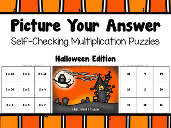Multiplication Self-Checking Puzzles - Halloween Theme