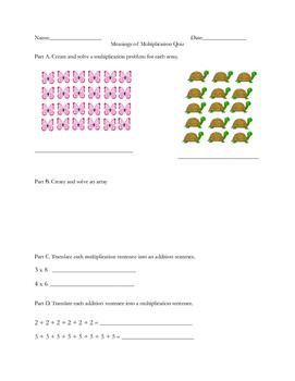 Multiplication Sense Quiz