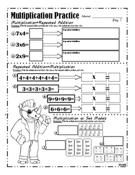 Multiplication Set Model and Repeated Addition Worksheet by Math Animal