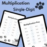 Multiplication Single Digit Dog Worksheet
