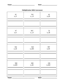 Multiplication Skills Assessment