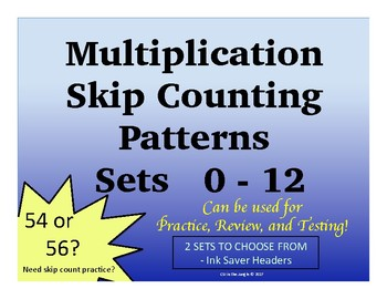 Multiplication Skip Count Practice and Testing Sets