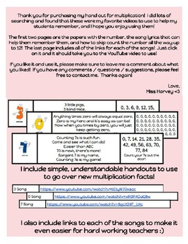 Multiplication / Skip Counting Songs Handouts 1-10 (with links)