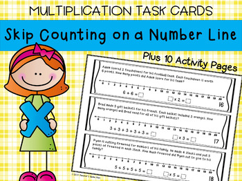 Multiplication - Skip Counting on Number Line Task Cards & 10 Activity Pages