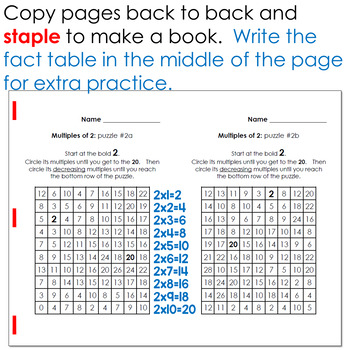 Multiplication: Skip counting Multiples Puzzles