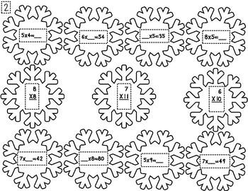 Multiplication Snowflake Winter Wreath Activity
