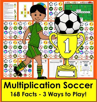 Multiplication Soccer Math Centers- 3 Ways To Play - Common Core Aligned