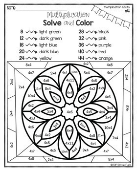 Multiplication Coloring Worksheets Stained Glass Solve and Color Set 1