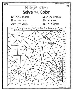 Multiplication Solve and Color Worksheets Stained Glass Designs