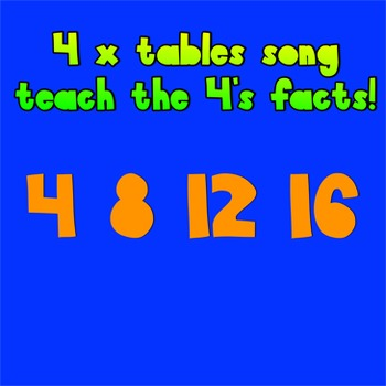 Multiplication Music Video- 4 Times Tables