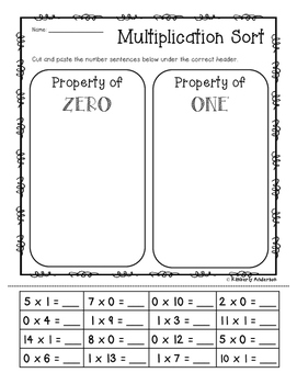 Multiplication Sort: Property of 0 / Property of 1