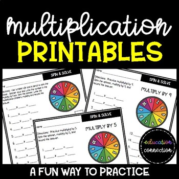 Multiplication Spin and Solve Worksheets