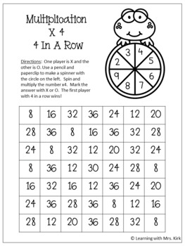 Multiplication Spinner Games Facts 2 - 12