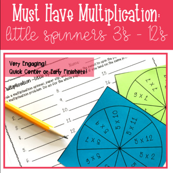 Multiplication Spinners: 3's - 12's