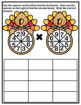 Multiplication Facts Spinners - Thanksgiving Turkeys