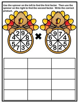 Multiplication Facts Spinners - Thanksgiving Turkeys