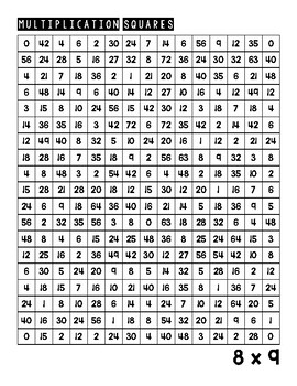 Multiplication Squares (8x9)