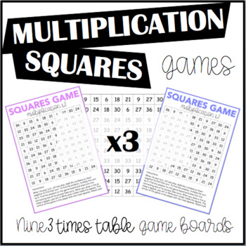 Multiplication Squares Game 3 Times Table