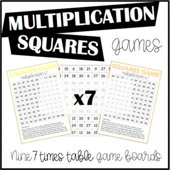 Multiplication Squares Game 7 Times Table
