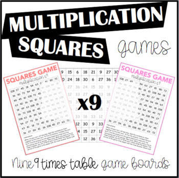 Multiplication Squares Game 9 Times Table