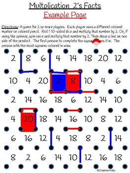 Multiplication Squares Game for Facts 1-10