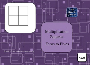 Multiplication Squares zeros to fives Smart Board Lesson