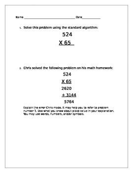 Multiplication Standard Algorithm Error Analysis Worksheet or Homework