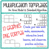 Multiplication Standard Algorithm and Area Model Templates