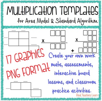 Multiplication Standard Algorithm and Area Model Templates