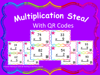 Multiplication Steal 2 digits X 1 digit With QR Codes