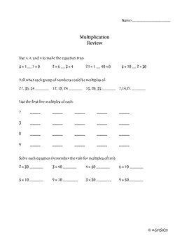 Multiplication Story Problem Review- Multi Step and Applied Skills