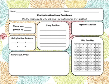Multiplication Story Problem Template