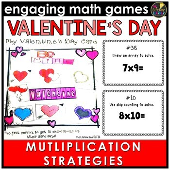 Valentine's Day Multiplication Strategies Game