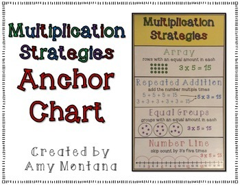 multiplication strategies anchor chart freebie by amy montana tpt. Black Bedroom Furniture Sets. Home Design Ideas
