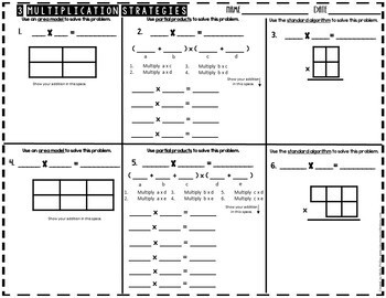 Multiplication Strategies: Area Models, Partial Products, Standard Algorithm