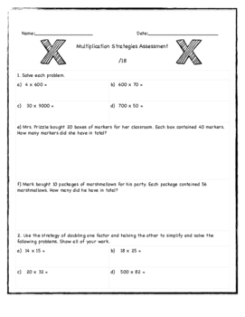 Multiplication Strategies Assessment